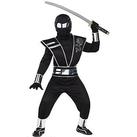 Bambino costume da Ninja bianco o nero a specchio Ninja Costume da Halloween costume Deluxe outfinon EU 104-152