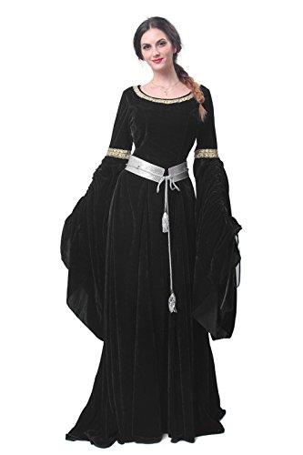 Anime Kleider Cosplay (Nuoqi Mittelalterliches Damen Gothic kleid Cosplay Kostüm Maskenkostüm Maxi)