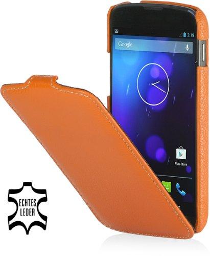 StilGut UltraSlim Case, Tasche aus echtem Leder für Google Nexus 4 / LG E960, Mandarin