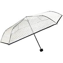 Smati Parapluie Transparent pliant Femme - Ultra léger Pois Noirs Paraguas Plegable, 25 cm,