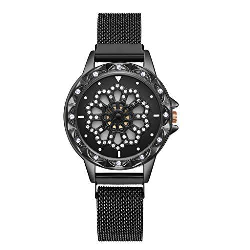 TWISFER Armbanduhr Frauen Analog Quarzuhr Edelstahl Mesh Armband 360 Rotation Drehen Uhr Blumen Uhr Damen Diamant Deko Damen Sternenhimmel Uhr Glitzer Modische Uhren Damen
