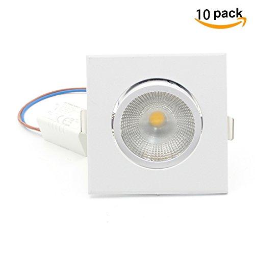 Lediary Lot de 10 COB LED Spot, Plafonnier à LED Downlight, 5 W lampe LED à encastrer kit d'éclairage Angle, 3000 K Blanc chaud, LED réglable Cabinet lumière, Warm White (3000k) 5.00W