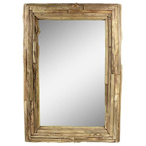 Oriental Galerie Spiegel Rahmen aus Holzstücken Thailand Massiv Holzrahmen Wandspiegel Holz-Spiegel ca. 70 x 100 cm Nr. 2
