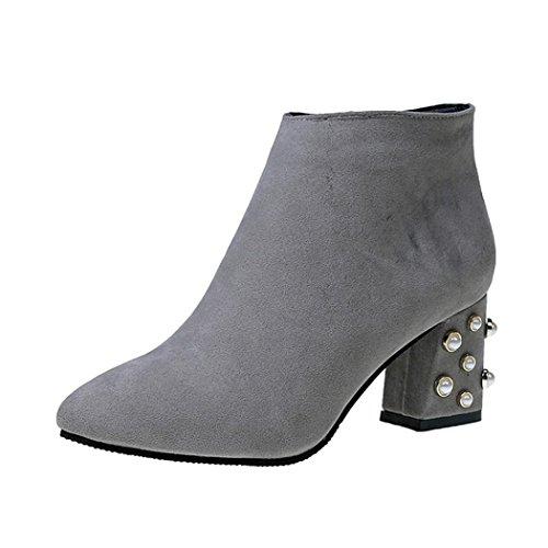 Stiefel damen Kolylong® Frauen Elegant Stiefeletten mit absatz Vintage Plateau Stiefel Kurz Warm Martin Stiefel Schuhe High Heel Ankle Boots Mädchen Freizeit Schuhe (37, Grau) (Heel Ankle Boot Platform)