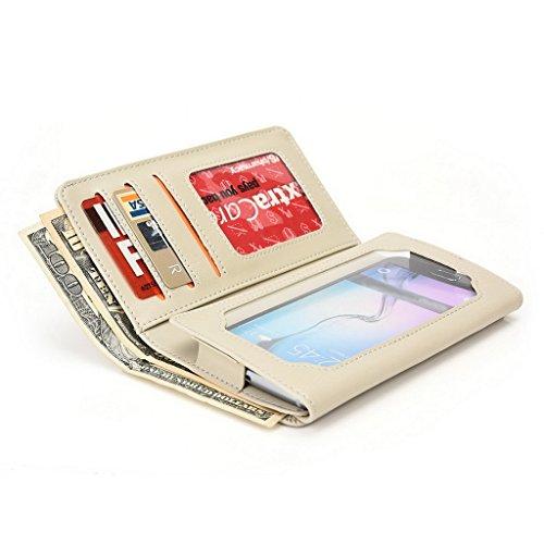Kroo Portefeuille unisexe avec Lava Iris X5/carburant 50ajustement universel différentes couleurs disponibles avec affichage écran Beige - beige Beige - beige