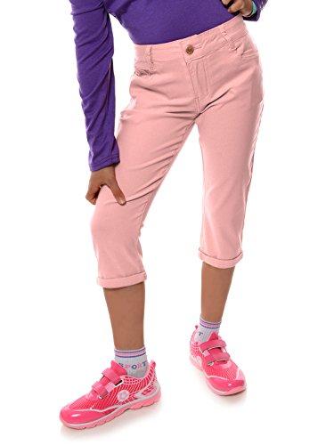 Mädchen Kinder Kurze Hose Strech Capri 3/4 Stoff Shorts Skinny 22142, Farbe:Rosa, Größe:116 (Comfort Capris)