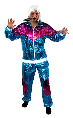Suit Dress Fancy Shell Kostüm - ILOVEFANCYDRESS Rapper Shell Suit KOSTÜM VERKLEIDUNG=MIT UND OHNE ZUBEHÖR=HIP HOP Shell Suit =SCHLECHTER Geschmack Plastik Anzug=FASCHIN Karneval=XXLarge+PERÜCKE+Brille+Medallion+ZIGARRE