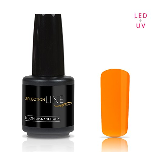 N&BF Selection Line Neon UV + LED Nagellack Orange | 15ml knalliger Nagelgel Lack | Profi Hybrid Gel dünnviskos | Profi Gellack | Farblack bunt hochglänzend | kratzfest & splitterfest Hybrid-splitter