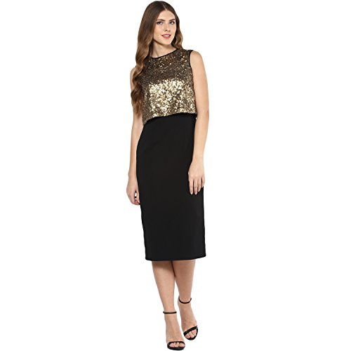 FEMELLA Women's Polyester Dress (DS-731732-1381-BLK-L_Black_Large)