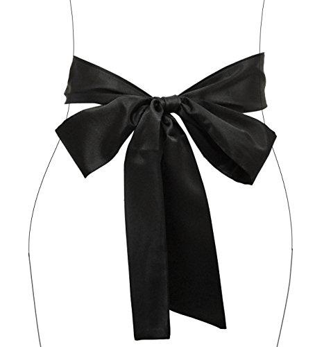 TY fashion Damen Mädchen Breite Chiffon 200cm Lang Taillen Band/Gürtel (200cm, schwarz) (Mädchen Band Kleid)