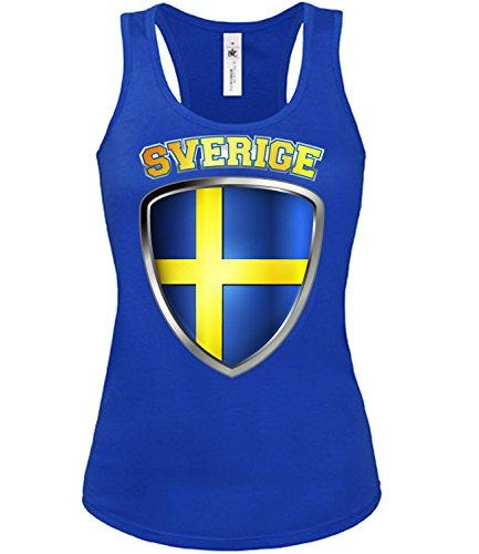 Schweden Fussball Fanshirt 3201 Damen Fan Fun Tank Top Funshirt Blau XL