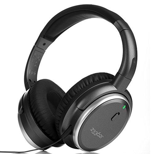 H501 Réduction de Bruit Active Casque Stéréo avec Batterie plus Longue anc -50 Heures, Certifié Apple MFi Casque audio filaire avec microphone et contrôle du volume (Filaire/Métal Noir)