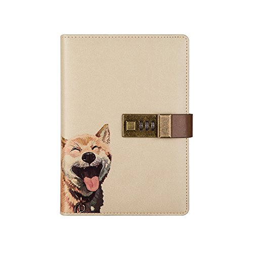 Nainaiwu Journal Notebook Travel Diary PU Leather Writing Notebook with Lock B6 Size Journal to Write in for Girls and Boys Printed Adorable Animal Notepad (Dog)