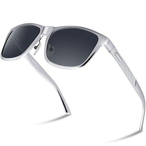 PAERDE Unisex Retro Al-Mg Metallrahmen polarisierte Sonnenbrille für Männer Frauen (Schwarzer Rahmen&Schwarze Linse) 4u65y