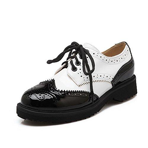 AgooLar Femme Lacet Pu Cuir Rond à Talon Bas Couleurs Mélangées Chaussures Légeres Noir