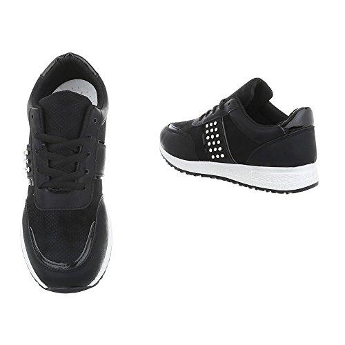 Ital-Design Scarpe da Donna Sneaker Piatto Sneakers Low nero P-18
