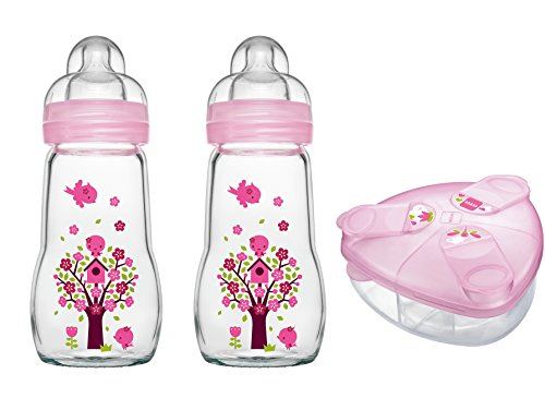 MAM Set - 2 x Feel Good Glass Bottle 260 ml Glas Flasche & Milchpulversender für Mädchen