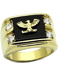 Yourjewellerybox - Anillo con detalle de diamante falso - para hombres - 18kt bañado en oro amarillo, talla 19 (18,79 mm)