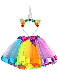 8ba9bbd84285 Vamei Rainbow Ribbon Tutu Gonna per bambine Costume da balletto Foto con  Unicorn Flower Fascia per