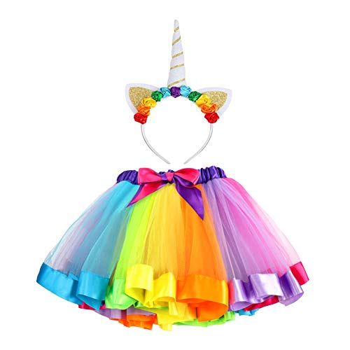 VAMEI Rainbow Ribbon Tutu Skirt para niñas pequeñas Fotos de Disfraces de Ballet con Unicorn Flower Diadema para Little Pony Dress Up Fun