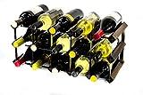 Cranville Wine Racks Madera Classic 15 botella de roble oscuro manchado y galvanizado estante del vino del metal ya montados