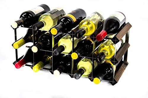 Klassische 15 Flasche Eiche dunkel gebeiztem Holz und verzinktem Metall Weinregal Selbstmontage
