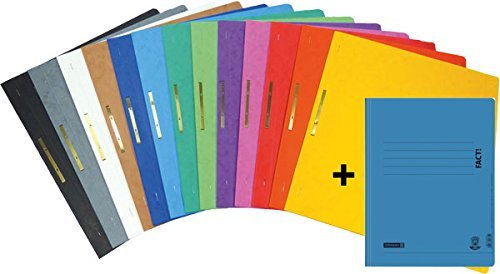 Brunnen Schnellhefter FACT! Pappe extrastark - GROßPACK bunt - 13+1 Stück bzw. Farben im Pack - für Schule, Job, Büro und zu Hause