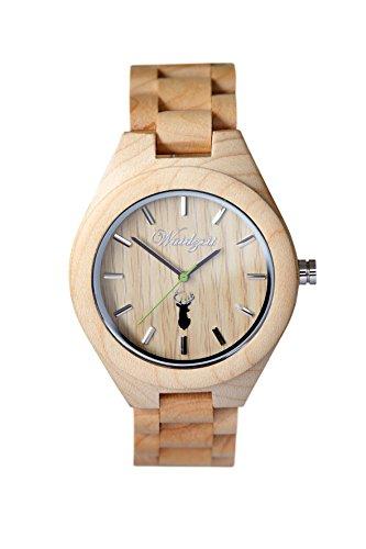 Waidzeit Unisex-Uhr Holz STEINBOCK Platzhirsch Armbanduhr ST02