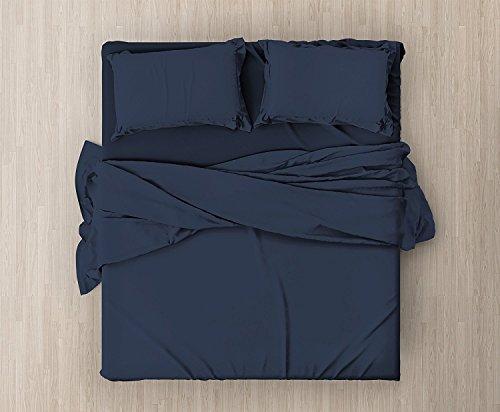 Corredocasa  - set completo di lenzuola e federe da letto matrimoniale tinta unita,col. navy in microfibra