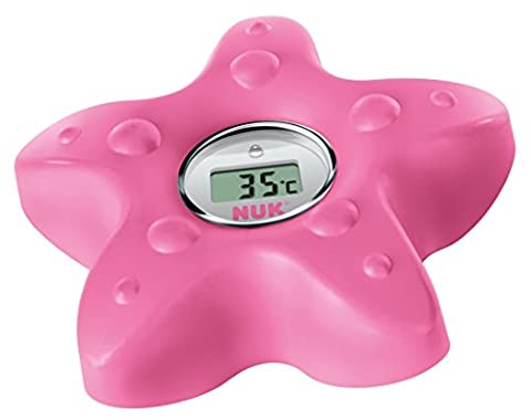 NUK 10256418 Digitales Badethermometer, zum Messen der Wasser-Temperatur, schnell und zuverlässig, mit Temperatur-Alarm, berry