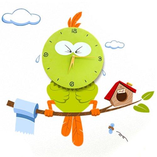 Hipkid Kinder Wanduhr Wanddekoration Kinderzimmer mit Wandtattoo - Vogel