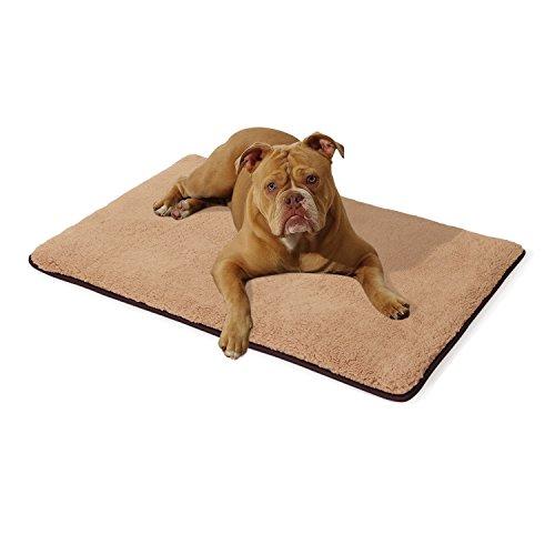 Homeoutfit24 Malu Hundedecke M 100 x 70 x 5 cm braun beigewaschbar weich Plüsch kuschelig Fell Bezug Hundebett Hundematte Hundekissen