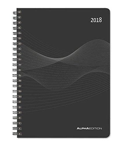 Wochenplaner PP-Einband schwarz 2018 - Kalender-Ringbuch A5 / Cheftimer A5 - Ringbindung - 1 Woche 2 Seiten - 128 Seiten