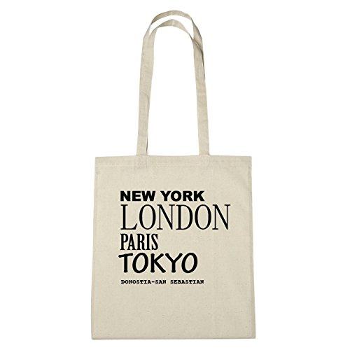 JOllify Donostia di San Sebastian Borsa di cotone B3569 schwarz: New York, London, Paris, Tokyo natur: New York, London, Paris, Tokyo