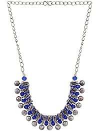 Efulgenz Antique Oxidised German Silver Fancy Party Wear Blue Statement Necklace Jewellery For Girls And Women
