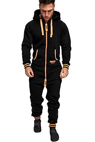 Amaci&Sons Herren Overall Jumpsuit Jogging Onesie Trainingsanzug 3007 Schwarz/Orange L