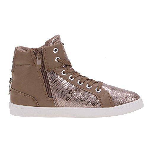 Damen Schuhe, KA-15309B, FREIZEITSCHUHE Bronze Braun