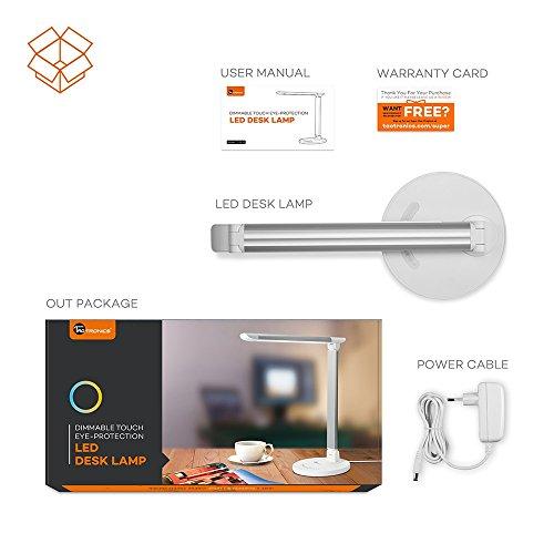 TaoTronics TT-DL13 Schreibtischlampe LED Büro Tischleuchte 5 Farb und 7 Helligkeitsstufen dimmbar Touchbedienung USB-Anschluss Weiß