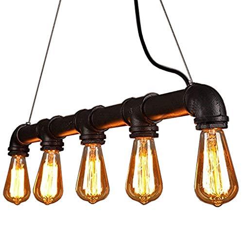 Asvert Industrielle Pendelleuchte Wasserrohr Geformt Hängelampe Deckenleuchte Vintage Light Edison Rustikale Schwarz Retro Licht Anhänger Steampunk Metall Wasser Rohr Lichter E27 60W mit 5 Fass -