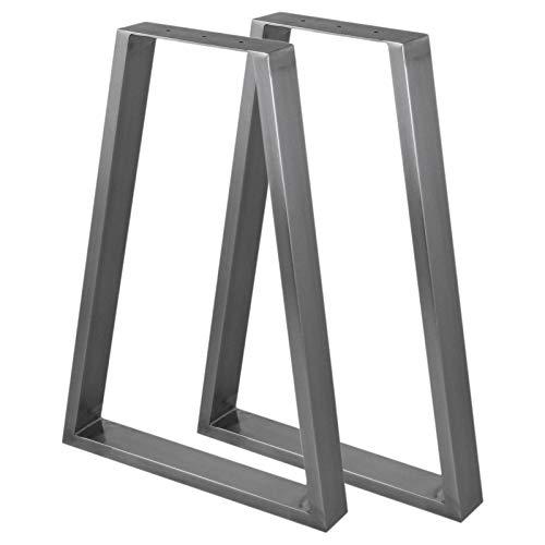 2 x SkiSki Tischbeine Tischfüße Industriedesign Trapez Trapezform Tischgestell Tischuntergestell Tischfüße Tischgestell- Rohstahl & Untersetzer für Möbel