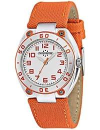 Chronostar - R3751224145 - Alluminium - Montre Mixte - Quartz Analogique - Cadran Blanc / Orange - Bracelet en Cuir Orange