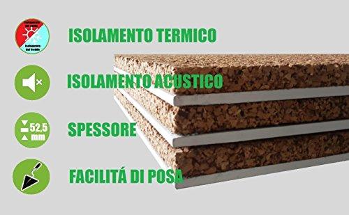 ITALFROM - Pannello Accoppiato Sughero (40mm) + Cartongesso (13 mm) Isolamento Termico Acustico (Varie Dimensioni) (Pannello da 1,20 m x 1,00 m)