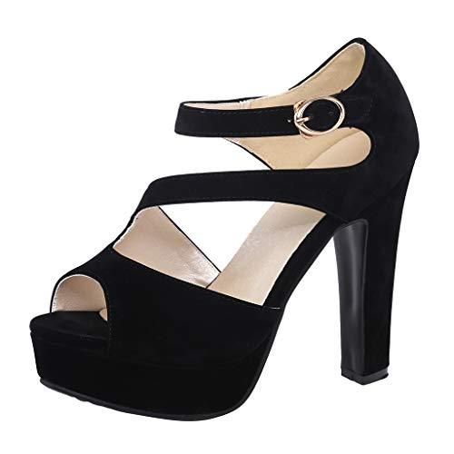 Chaussures pour Femmes Talon Haut Large Sexy Printemps 2020 LuckyGirs Femmes Sandales compensées Plate-Forme...