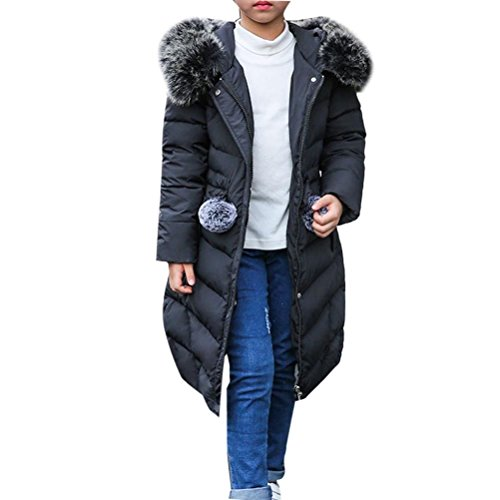 Zhhlinyuan Kids Big Mädchen Winter Long Slim Down Puffer Hooded Jacket Daunenjacke Outdoor Windproof Quality Thick Warm Quilted Down Coat Parka Outerwear Long Down Parka