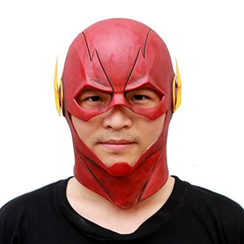 AKCHIUY Flash Cosplay Maske,Halloween Superheld Latex Kopfbedeckungen Film Kostüm Requisiten Voller Kopf - Zombie Überlebens Halloween Kostüm