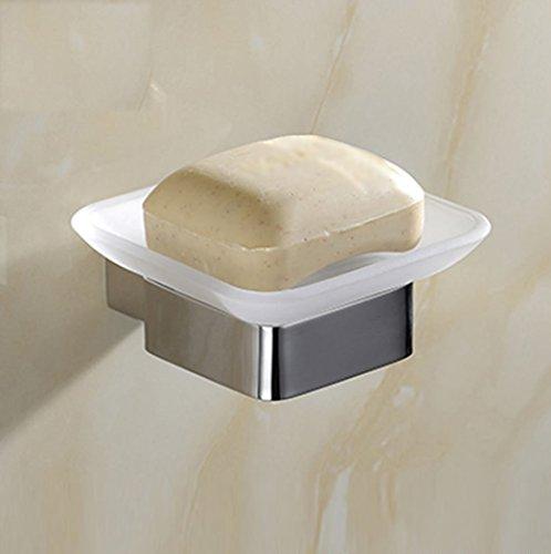 Badezimmer Seifenschalen, moderne Einfachheit Stile quadratische Basis Wand-Glas Scrub gebürstetem Metall Gesicht Seifenschalen, Bad WC Seifenschale, Produkt-Größe: 12 cm * 10,5 * cm * 4,5 cm