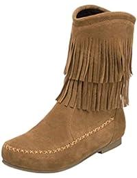 c9d54afbb7b71 Botines Altos de para Mujer Otoño Invierno 2018 Moda PAOLIAN Botas Plano  Zapatos de Terciopelo Señora