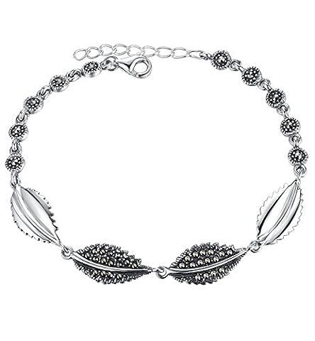 Aoiy - Bracelet Femme - Argent Sterling oxydé - Feuille