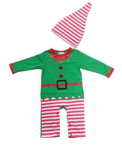 BlueField Baby Jungen (0-24 Monate) Zweiteiliger Schlafanzug grün grün Gr. M, grün Santas Lil Elf