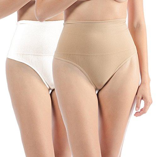 Libella donne figura formante pantaloni corpetto bodyshorts shapewear effetto ventre string e tanga 3601 beige+bianco l/xl